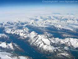 Aerial shot of Glacier over Southern Greenland